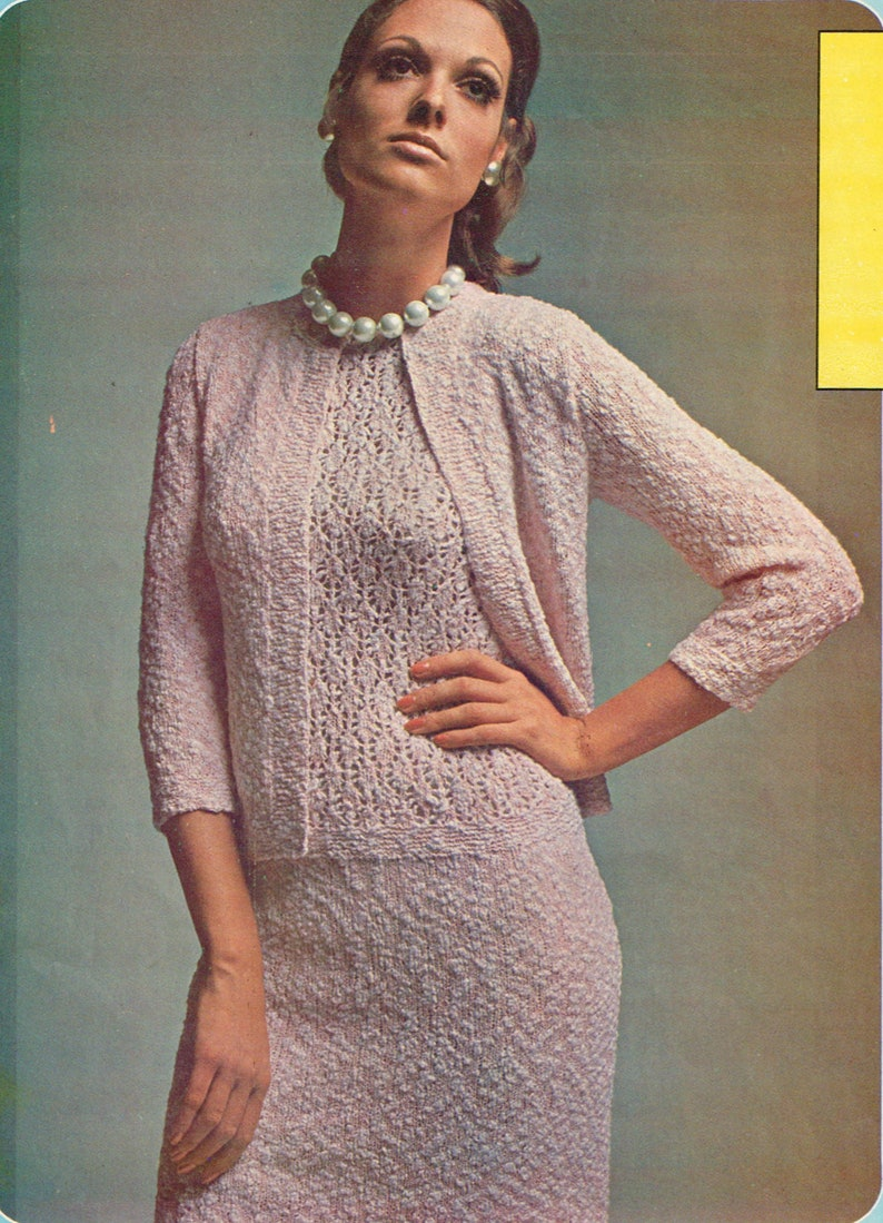 e12d41989 Vintage Women s Knitting Pattern Ladies 2 piece outfit