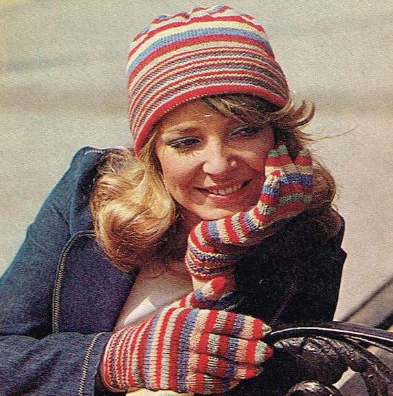 79316ce9b Vintage knitting pattern - Striped hat with matching gloves - PDF knitting  pattern - retro 70s 1970s