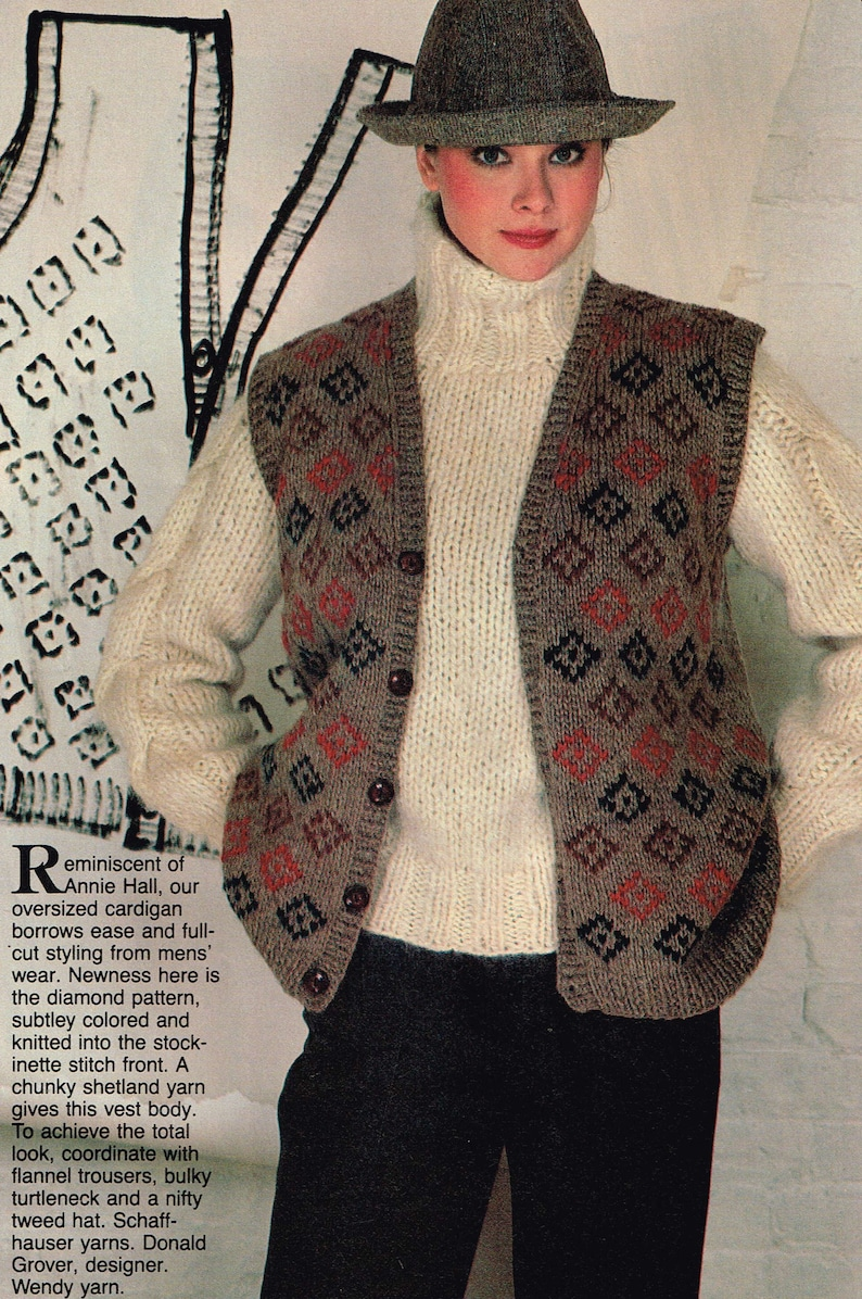 a8aadf85b Vintage knitting Pattern for Women Button up Vest   Chunky