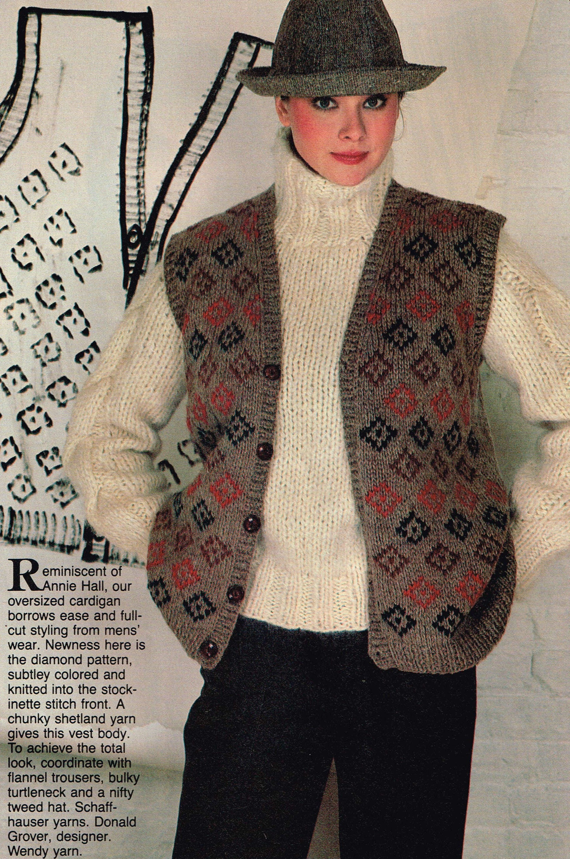 vintage knitting pattern for women button up vest amp chunky