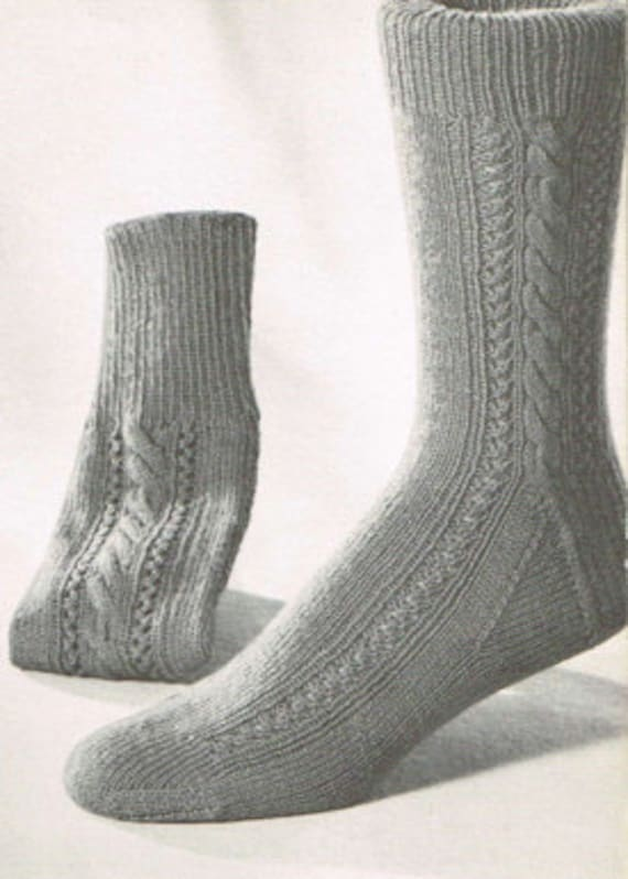 Vintage Sock Knitting Pattern For Men Retro Socks Pdf Etsy