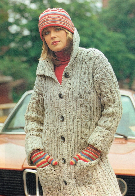 Vintage Knitting Patterns for Women Cable Knit Sweater Coat | Etsy