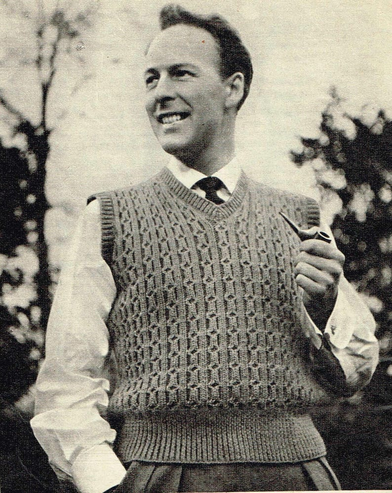 c3738ab7e4d3db Vintage Men s Knitting Pattern 50s Sleeveless Pullover