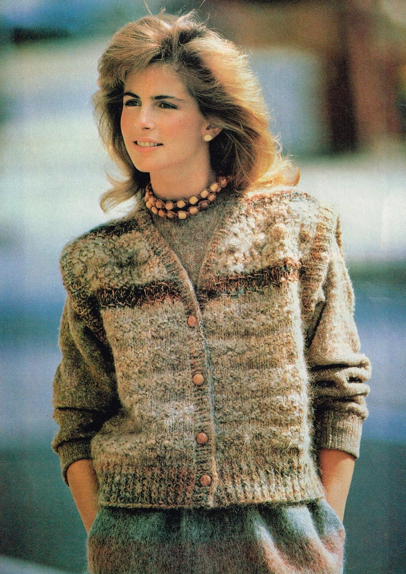 7e90008c206934 Vintage Woman s Knitting Pattern Textured Oversize Vest