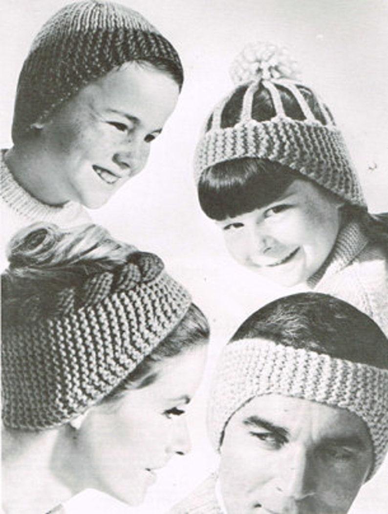 5553d6e1e Vintage knitting pattern - family topknots or headbands - PDF knitting  pattern - retro 60's - wool headband - women children girls boys men