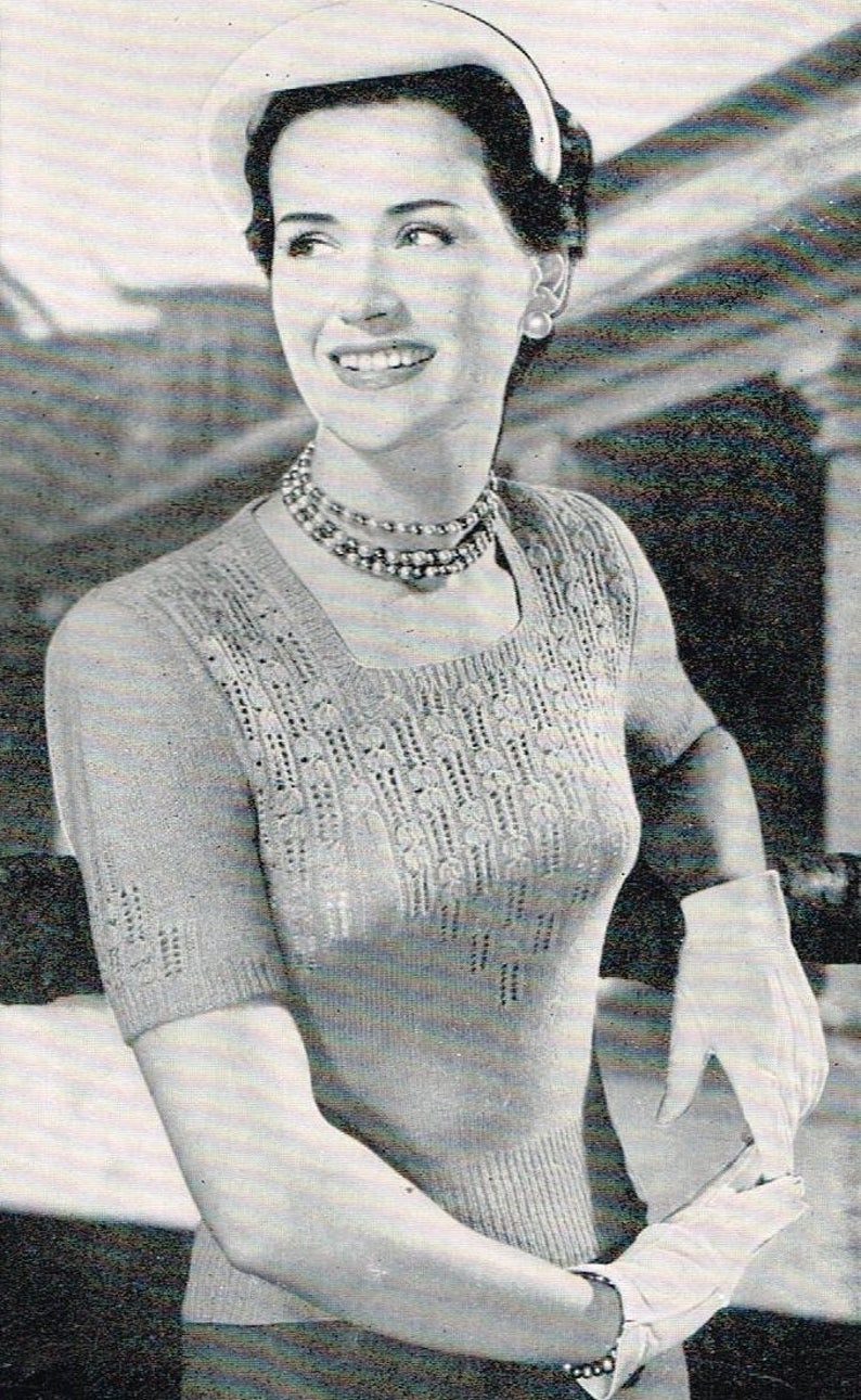 d384dbcc0a4 Vintage 50's Knitting Pattern - Women's Jumper with Lacy Yolk - PDF  Downloadable - 1950's retro ladies sweater or top or blouse