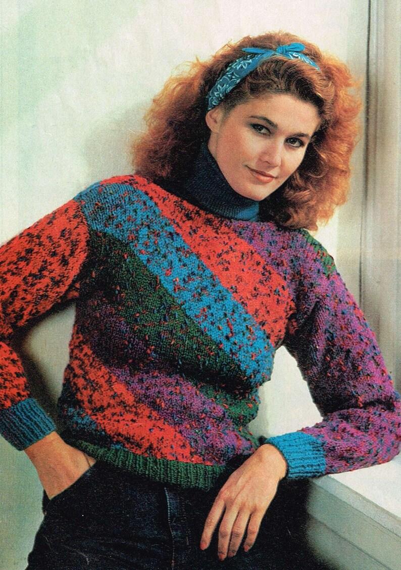 050cff1990944 Vintage Woman s Knitting Pattern Diagonal Striped