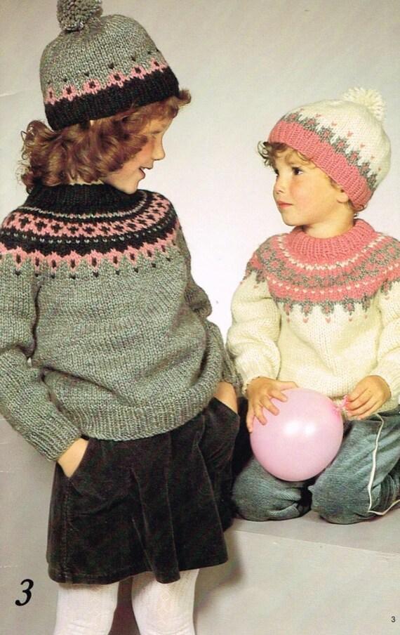 Fair Isle Knitting Vintage Knitting Pattern For Children Etsy