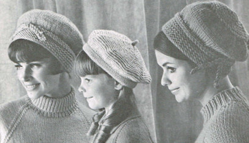 7c35f265068 Vintage knitting pattern Ladies and Girls Berets PDF