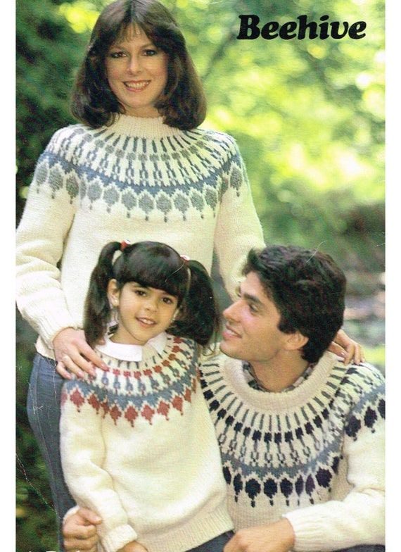 1970/'s Vintage Knitting Pattern Family Sweaters PDF Instant Download File.