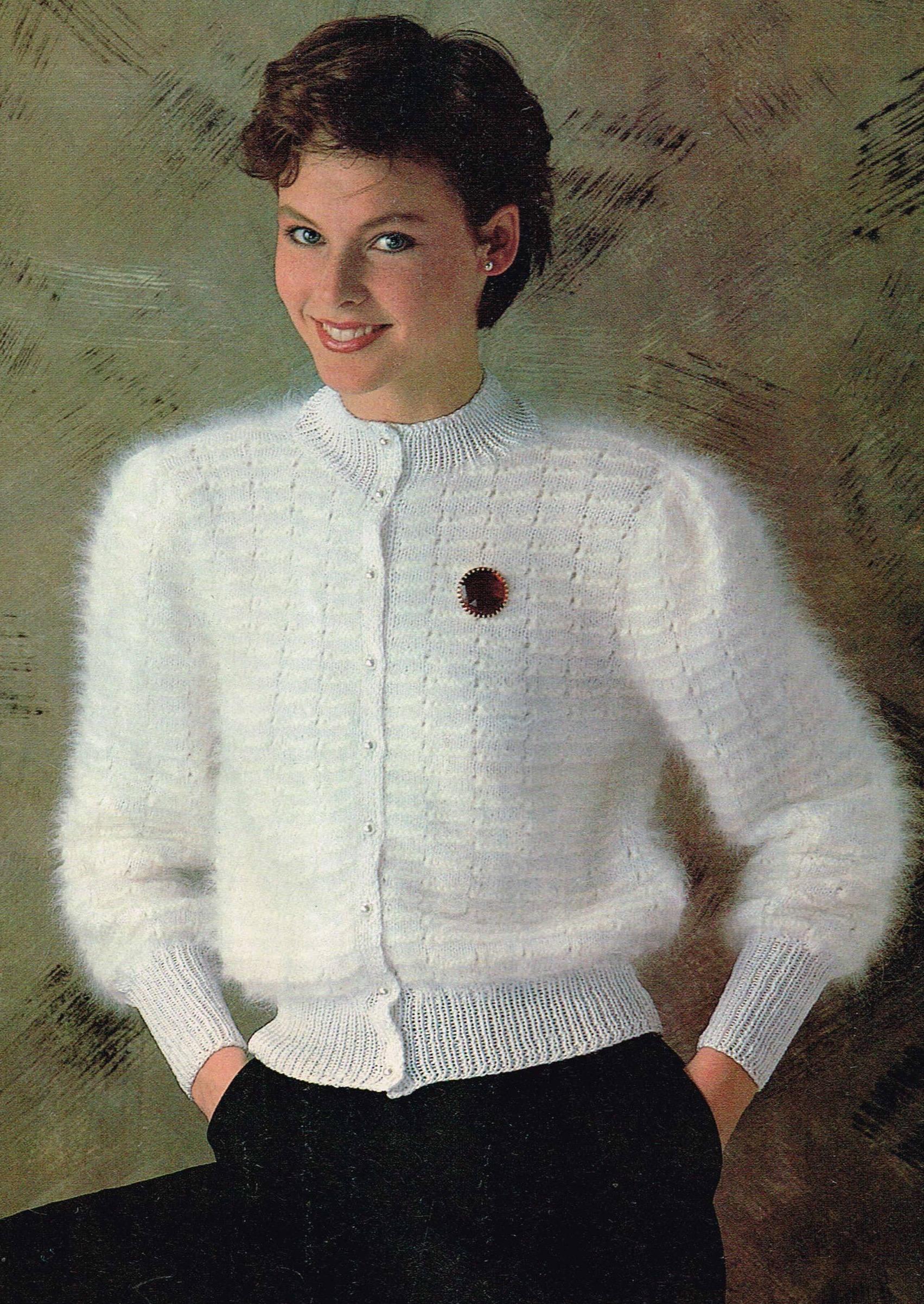 Vintage Knitting Pattern Fluffy Angora Cardigan 80 S Etsy