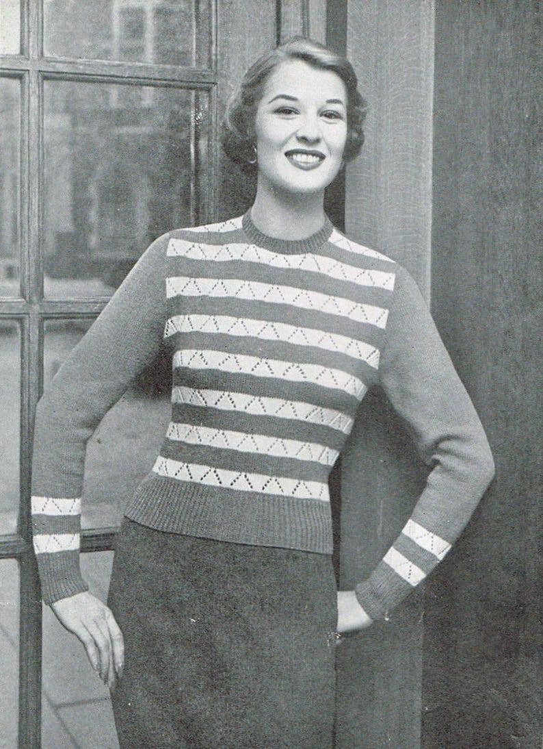 Vintage Women S Knitting Pattern Karla Striped Sweater Etsy