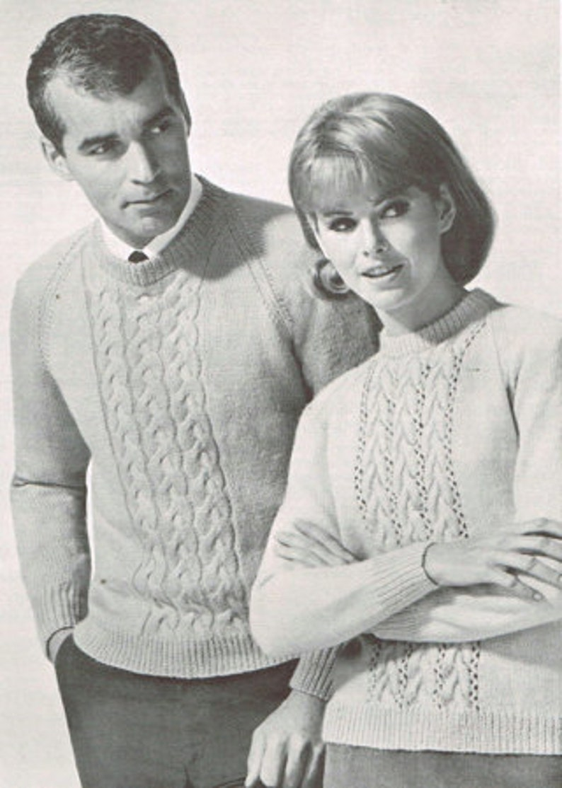 3eaec92140 Vintage knitting pattern for Men and Women Cable knit
