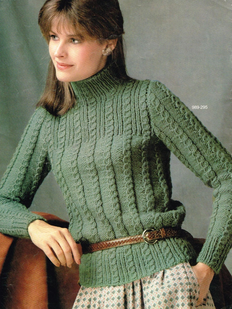 4fe7a6c76 Vintage download knitting pattern cable knit pullover