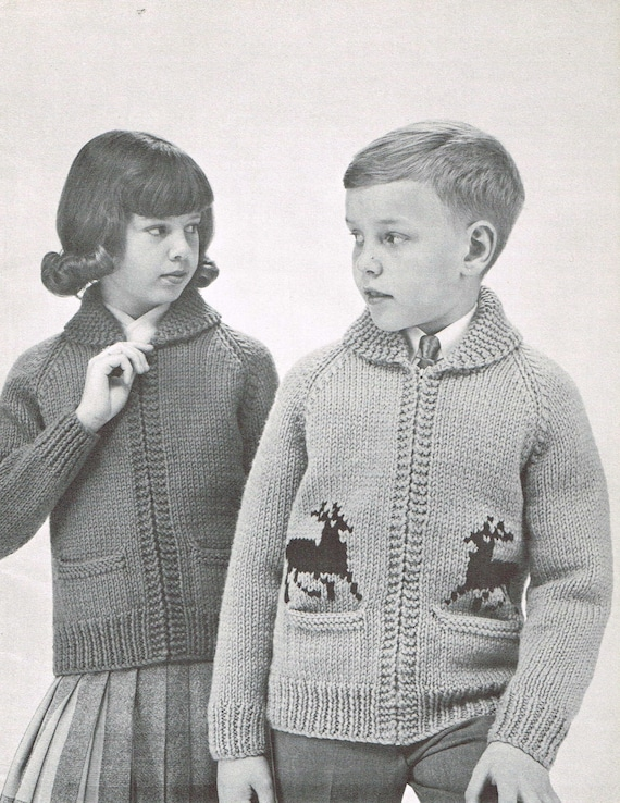 Vintage Knitting Pattern Zippered Cardigans For Girls Boys Etsy