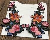 A Pair Delicate Embroidered Iron on Floral Applique Patches,Vintage Flower Patch for Clothing or Dress, Decorative Embroidery Appliques
