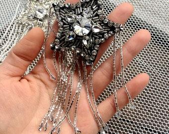 Beaded n crystal star vintage embroidered applique patch Paillette vintage patch T-shirt or Coat decoration patch applique
