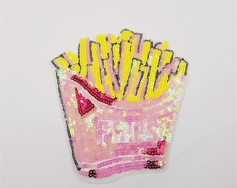 Sequin FRIES Before Guys Sticker Patch DIY Stick On Fries Applique Cute Food Fashion Sequined Patch Golden French Fries in Pink Box  Badge