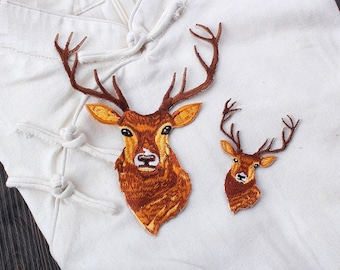 Fawn//Deer Laying Down Baby//Natural Iron On Embroidered Applique Patch