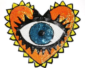 Heart Eye Sequined Applique Patch,Paillette Patch,Sequins Heart Patch Supplies for Coat,T-Shirt,Costume Decorative Patches