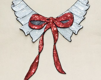 Delicate Sequins Bow Collar Applique Patch,Paillette Patch,Sequins Collar Patch Supplies for Coat,T-Shirt,Costume Sew On Patches