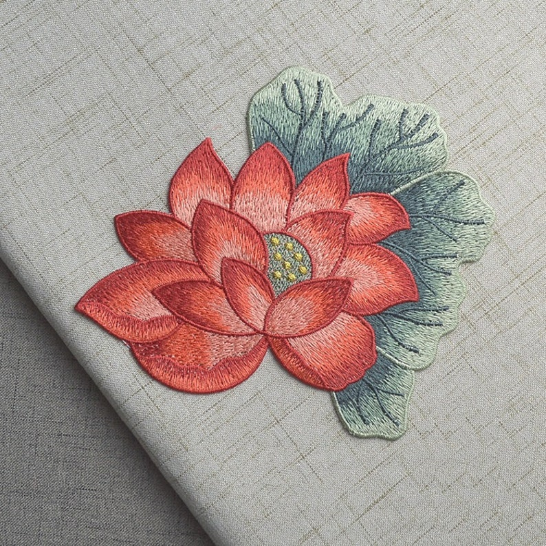Delicate Embroidered Red Lotus Flower Applique Patchvintage Etsy