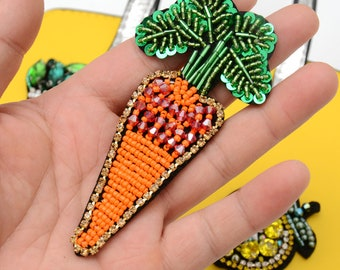 Carrot Embroidery Sequined Applique Patch,Beaded Carrot Patch Supplies for Coat,T-Shirt,Costume Decorative Appliques Patches