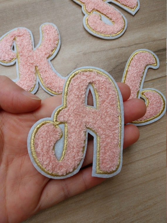 Pink or White Embroidery iron on Letter Applique Patch,Iron On Name Letters Patch for T-Shirt or Coat,Decorative Embroidered iron on Patches