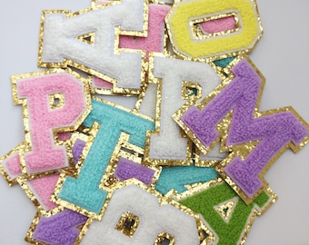 Colorful Embroidered Letter Iron on Applique Patch,Embroidery Name Letters Patch for T-Shirt or Coat,Decoration Embroidery Appliques Patches
