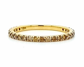 Ready to Ship . Brown Diamond Eternity Ring 18k Yellow Gold 1.6mm . 3/4 Eternity Ring . US Sizes 5.25 to 7 . Brown Diamond Band