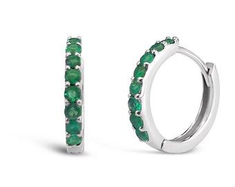 Ready to Ship . Pair of Natural Emerald Hoop Earrings 12mm . 14k Yellow Gold . Emerald Huggie Earrings . Small Hoop Earrings . Polamai