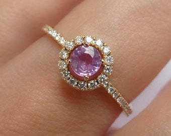 f10d70e8e Pink Sapphire Engagement Ring Diamond Halo . Round Brilliant Cut Natural  Sapphire . Light Mid or Hot Pink . Rose Yellow White Gold 18k 14k
