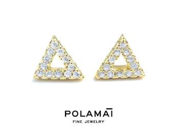 Diamond Open Triangle Stud Earrings  14k  18k Gold . Pair . Yellow White Rose Gold . Polamai