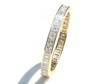 Princess Cut Diamond Eternity Ring 2.4mm 18k . Wedding Band . Full Half Eternity . Channel Setting. Yellow Rose White Gold . Platinum