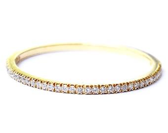 281ab6d6f82 Diamond Eternity Ring 1.2mm 18k . Micro Pave Eternity Ring . Full or Half  Eternity . Wedding Band Thin Diamond Ring. Yellow White Rose Gold