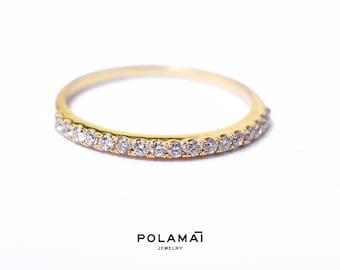 48a1439ec24 Diamond Half Eternity Ring 18k 1.4mm . Yellow Gold Half Eternity Ring . Wedding  Band . Diamond Band . Micro Pave . Yellow White Rose Gold