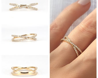 Diamond Crossover Ring . Crossover Eternity Ring . Double Eternity Ring . Diamond Cross Ring . 14k 18k Yellow White Rose Gold Platinum
