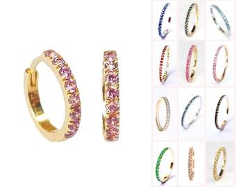 14k 18k Gold Huggie Hoop Earrings 12mm . Choose your Gemstone . Pink Peach Teal Blue Sapphire . Ruby Emerald. Black Blue Diamond Moissanite