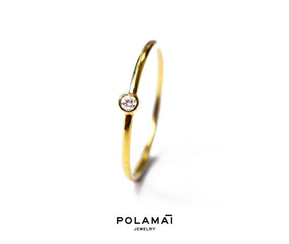 Minimal Diamond Ring Yellow Rose White Gold Polamai Diamond Wedding Band White Black Blue Diamond Stacking Ring