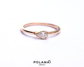 Pear Cut Diamond Ring 14k 18k Gold . 0.20ctw Diamond Solitaire Engagement Ring . Stacking Ring  Horizontal Bezel Set  Rose Yellow White Gold