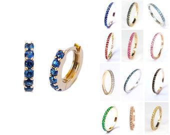 9mm Gold Huggie Hoop Earrings 14k 18k . Choose your Gemstone . Pink Peach Teal Blue Sapphire . Ruby Emerald. Black Blue Diamond Moissanite