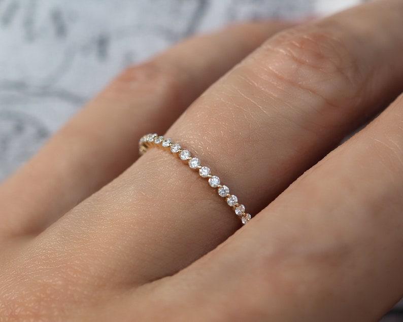 c31e87d99bf62 Floating Diamond Eternity Ring . 14k 18k Yellow White Rose Gold . Bubble  Diamond Wedding Band . Natural Earth Mined G VS Diamonds . Polamai