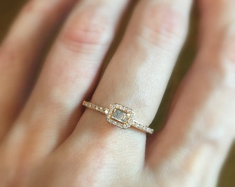 3 Diamond Baguette Ring 18k Gold . Engagement Stacking Solitaire Ring  . Halo . Solid Yellow White Rose Gold . Polamai