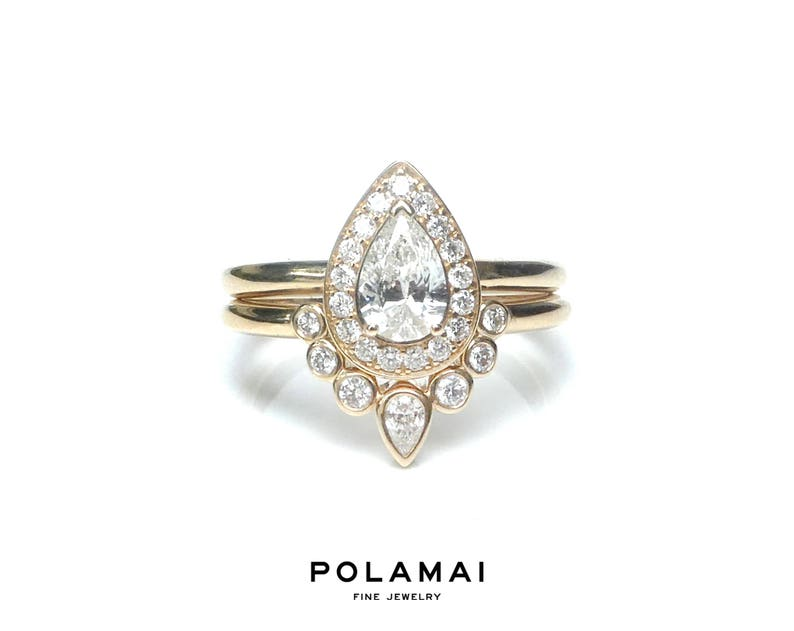 Pear Diamond Engagement Ring Set . Pear Cut Diamond Ring Halo image 0