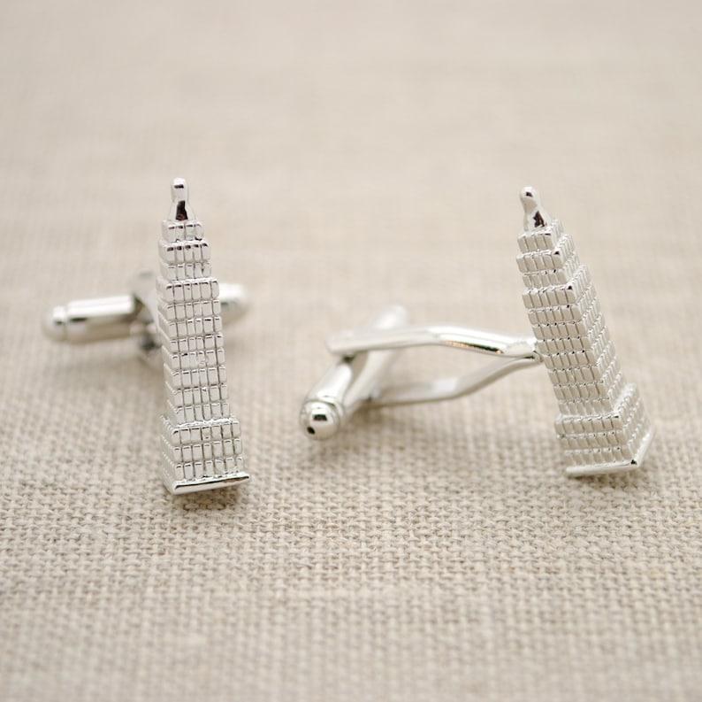 Empire State Building Cufflinks Enamel Silver Tone Skyscraper New York Wedding Groom Best Man Gift