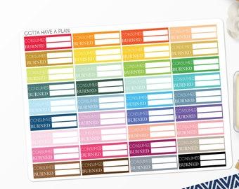 Planner Stickers Calorie Tracker for Erin Condren, Happy Planner, Filofax, Scrapbooking