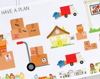 Planner Stickers Moving Day for Erin Condren, Happy Planner, Filofax, Scrapbooking