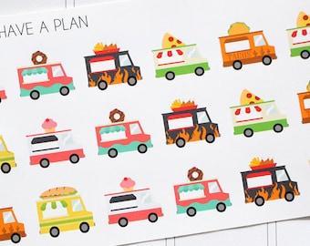 Planner Stickers Food Truck Variety for Erin Condren, Happy Planner, Filofax, Scrapbooking