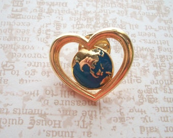 "Vintage Signed Avon Gold tone Heart with the Earth in the center,the World,1"" tie tack, lapel pin, hat pin"