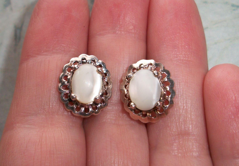 Vintage Signed CA 925 Sterling silver MOP earrings3.6 | Etsy